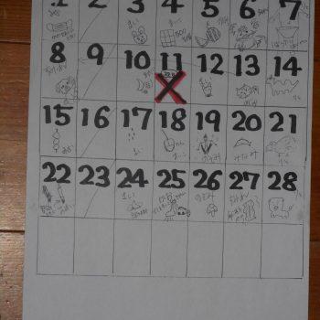 掃除当番のしりとりカレンダー